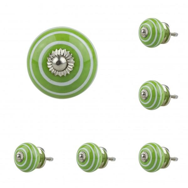 Jay Knopf 6er Möbelknopf Set 008GN Kreise Weiß Grün - Vintage Möbelknauf