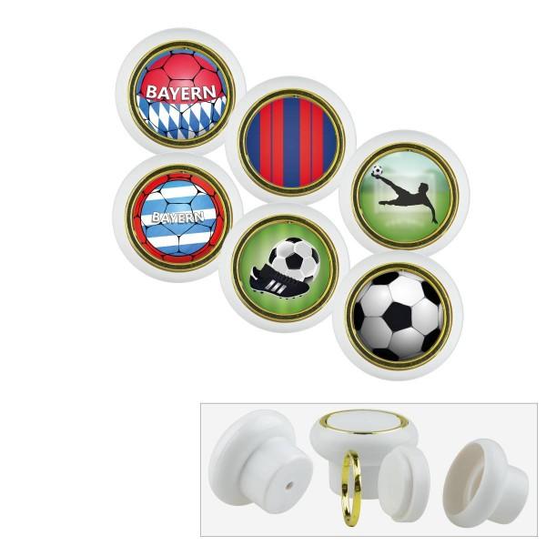 Kunststoff Möbelknopf Set 021WP Fußball Bundesliga Bayern 6er