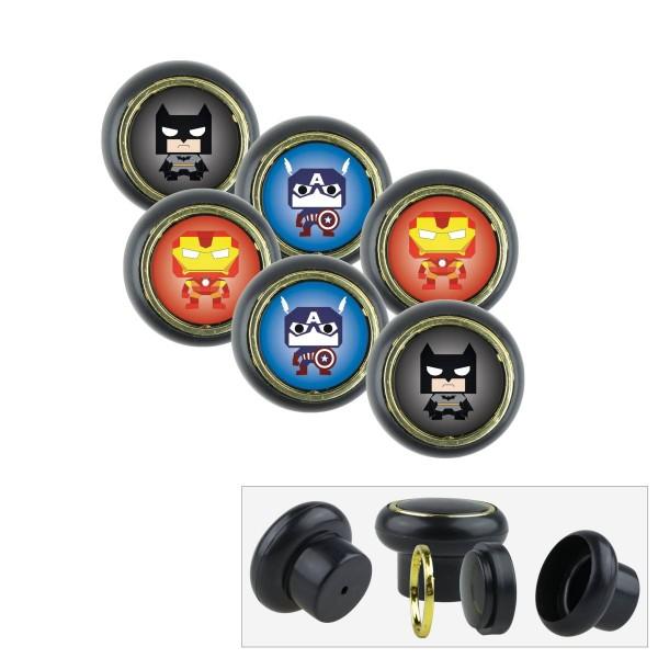 Kunststoff Möbelknopf Set 010SP Super Helden Fledermaus Batman 6er