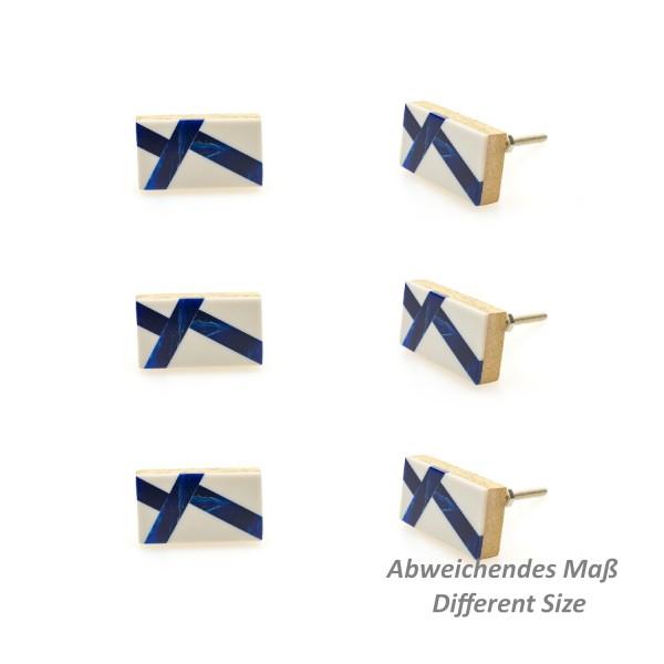 Jay Knopf 6er Möbelknopf Set 133GN weiß blau Holz Resin Modern