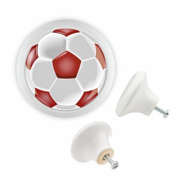Möbelknopf 049 Bestseller MKSP014 03402W Weisss Sport Fussball Soccer Motiv