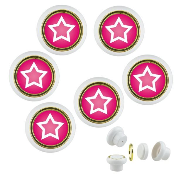 Kunsstoff Möbelknopf Set 021 Bestseller 6er Klein Sterne rosa rot 021w