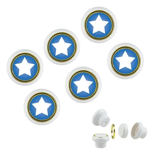 Kunsstoff Möbelknopf Set 024 Bestseller 6er Klein Sterne blau 024w