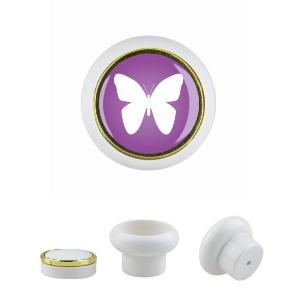 Kunststoff Möbelknopf Klein 021 Bestseller Schmetterling lila 021w