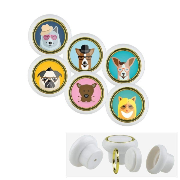 Kunsstoff Möbelknopf Set 008 Bestseller 6er Klein Hunde 008w
