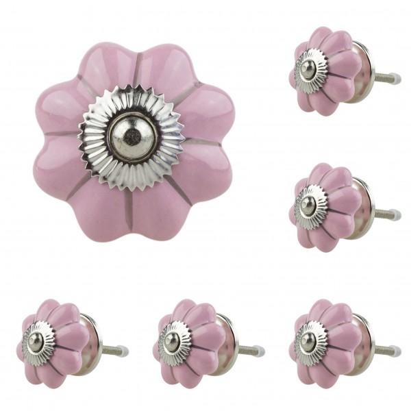 Jay Knopf 6er Möbelknopf Set 054GN Silber Streifen Pumpkin Kürbis Blume Rosa - Vintage Möbelknauf