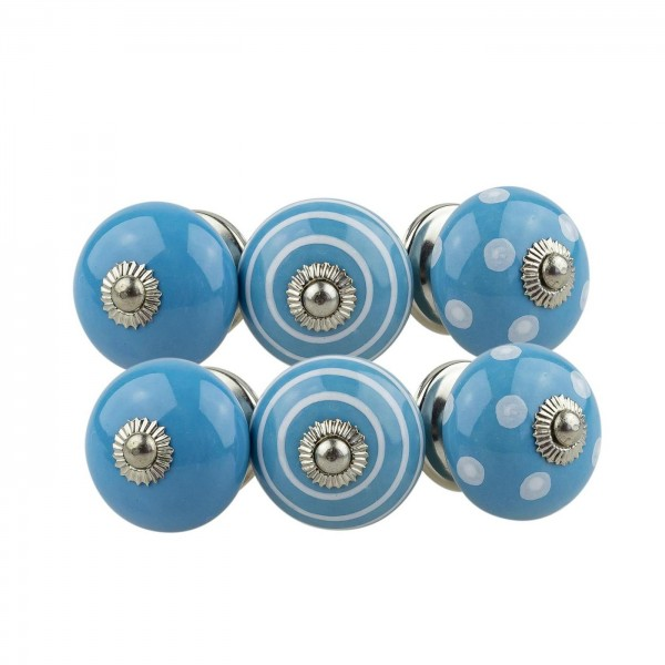 Jay Knopf 6er Möbelknopf Set 081GN Punkte Kreise Weiß Blau - Vintage Möbelknauf