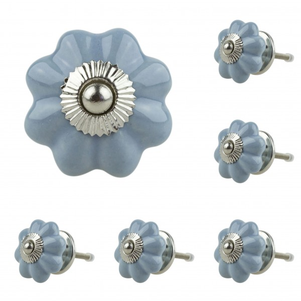 Jay Knopf 6er Möbelknopf Set 052GN Pumpkin Kürbis Blume Grau Blau - Vintage Möbelknauf