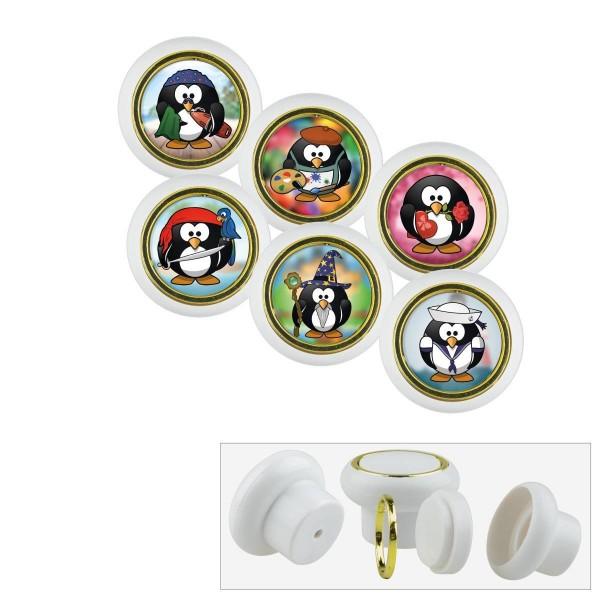 Kunsstoff Möbelknopf Set 002 Bestseller 6er Klein Pinguine 002w