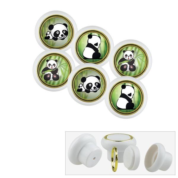 Kunststoff Möbelknopf Set 018WP Panda Bär 6er
