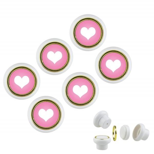 Kunsstoff Möbelknopf Set 023 Bestseller 6er Klein Herz rosa 023w