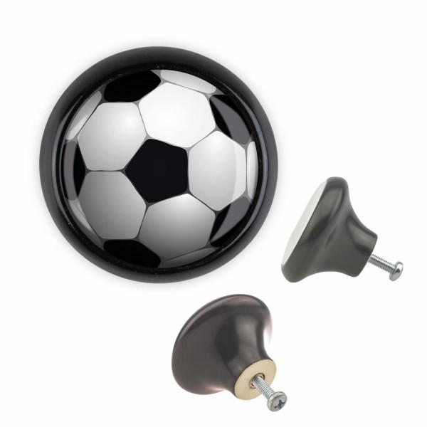 Möbelknopf 050 Bestseller MKSP014 03445S Schwarz Sport Fussball Soccer Motiv