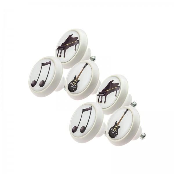 Möbelknopf Set 011 Bestseller 6er Set Musik Instrumente 011
