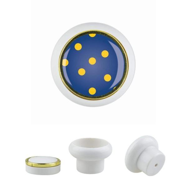 Kunststoff Möbelknopf Klein 019 Bestseller Punkte gelb blau 019w