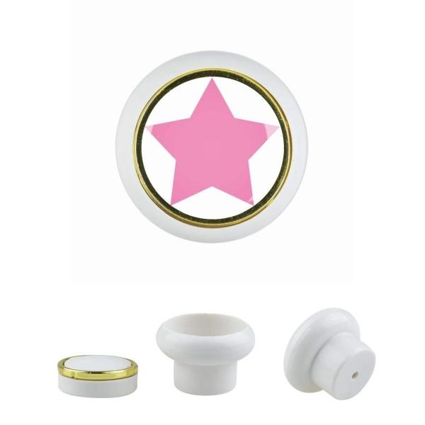 Kunststoff Möbelknopf Klein 017 Bestseller Stern rosa 017w