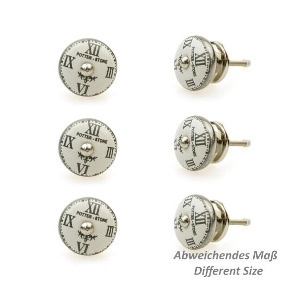 Jay Knopf 6er Möbelknopf Set 112GN Schwarz Vintage Uhren Silber Nostalgie