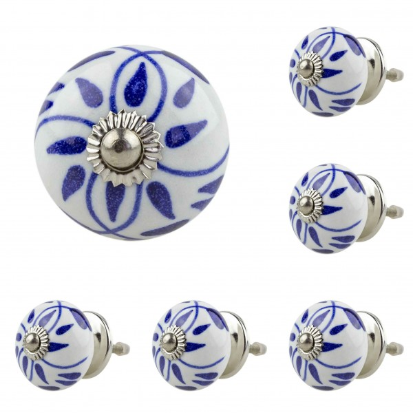Jay Knopf 6er Möbelknopf Set 060GN Muster Blau Weiß - Vintage Möbelknauf