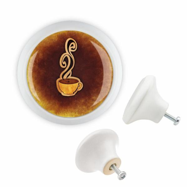 Möbelknopf 055 Bestseller MKSP008 04489W Weiss Küche Food Kaffee Motiv