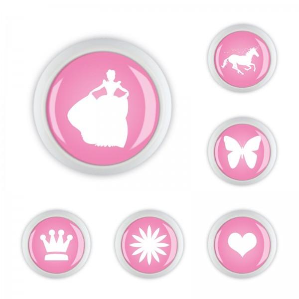 Möbelknopf Set 044 Bestseller 6er Set Prinzessin Einhorn Herz Krone Rosa 044