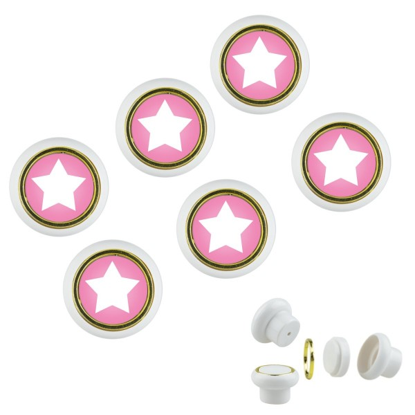 Kunsstoff Möbelknopf Set 018 Bestseller 6er Klein Sterne rosa 018w
