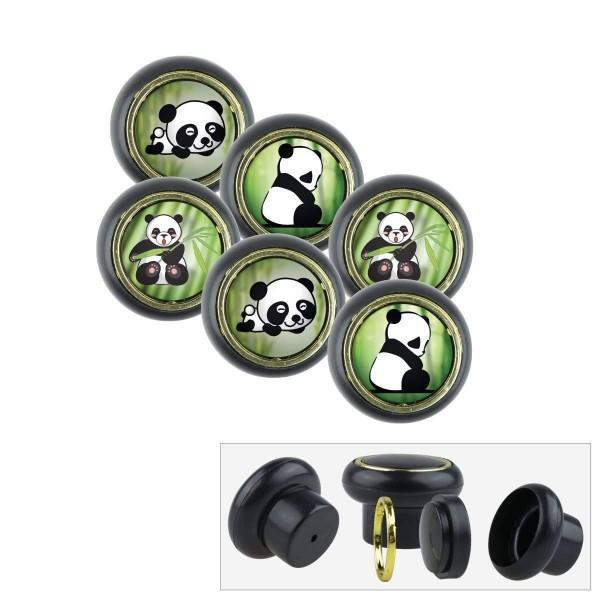 Kunsstoff Möbelknopf Set 004 Bestseller 6er Klein Panda Bär 004s