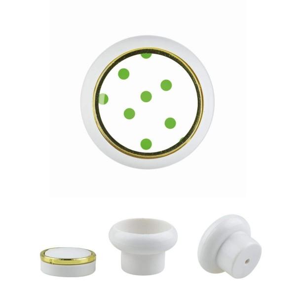 Kunststoff Möbelknopf Klein 016 Bestseller Punkte grün 016w