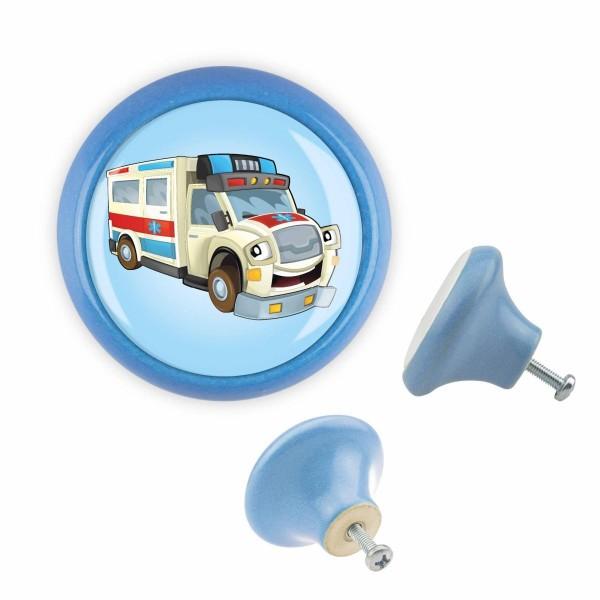 Möbelknopf 042 Bestseller MKSP004 03441B Krankenwagen Blau