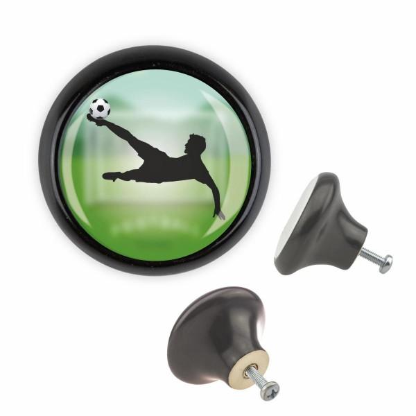 Möbelknopf 052 Bestseller MKSP014 03500S Schwarz Sport Fussball Soccer Motiv