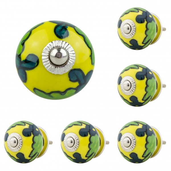 Jay Knopf 6er Möbelknopf Set 061 JKGH gelb grün