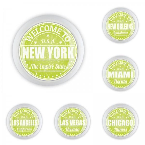 Möbelknopf Set 054 Bestseller 6er Set New York Las Vegas Miami US Metropolen 054