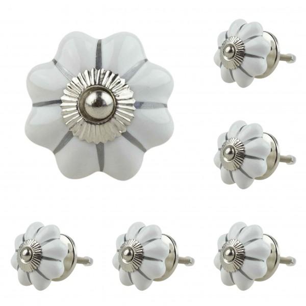 Jay Knopf 6er Möbelknopf Set 053GN Silber Streifen Pumpkin Kürbis Blume Weiß - Vintage Möbelknauf