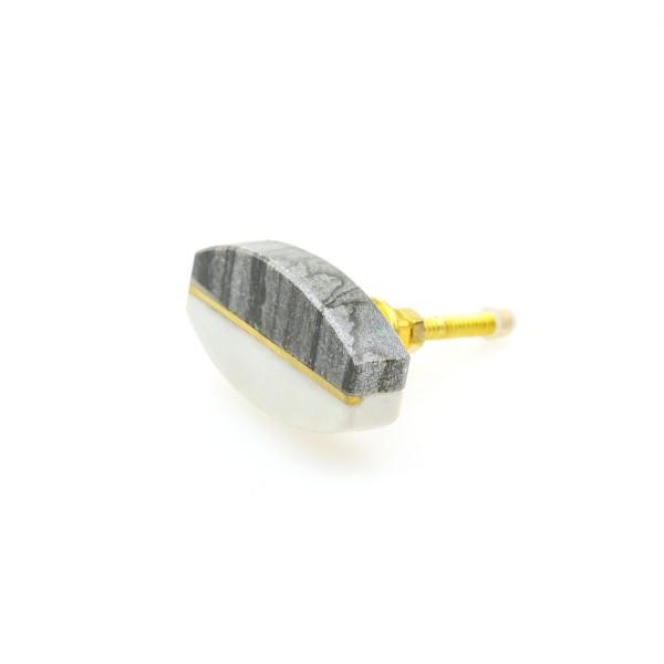 Möbelknopf weiss grau Marmor Messing Modern Möbelknöpfe Möbelgriffe No. 134GN