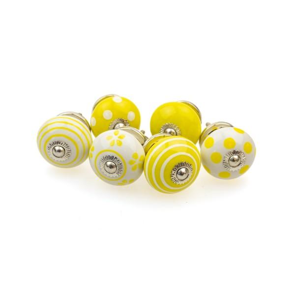 Jay Knopf 6er Möbelknopf Set 093GN Gelb Punkte Tupfer Kreise