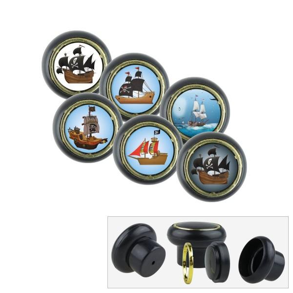 Kunststoff Möbelknopf Set 007SP Piratenschiff 6er