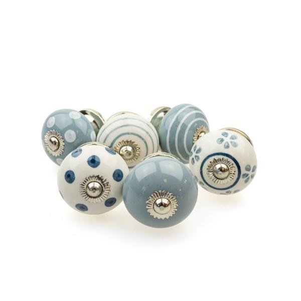 Jay Knopf 6er Möbelknopf Set 088GN Grau Blau Punkte Tupfer Kreise