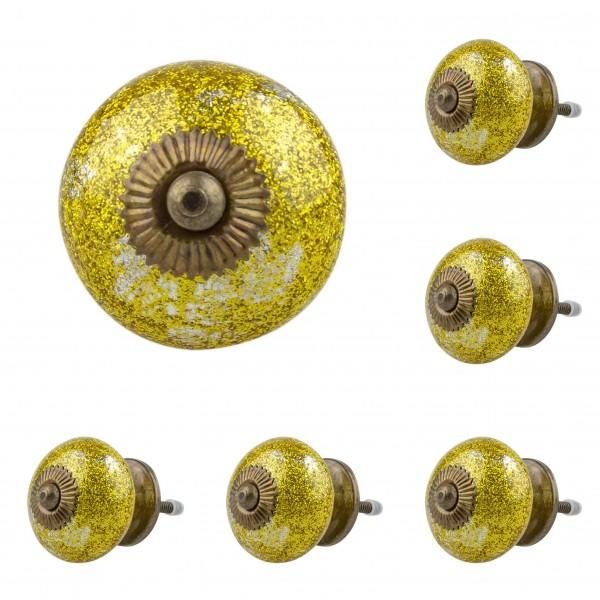 Jay Knopf 6er Möbelknopf Set 057GN Struktur Gold silber - Vintage Möbelknauf