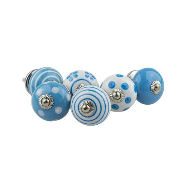 Jay Knopf 6er Möbelknopf Set 082GN Punkte Kreise Tupfer Weiß Blau